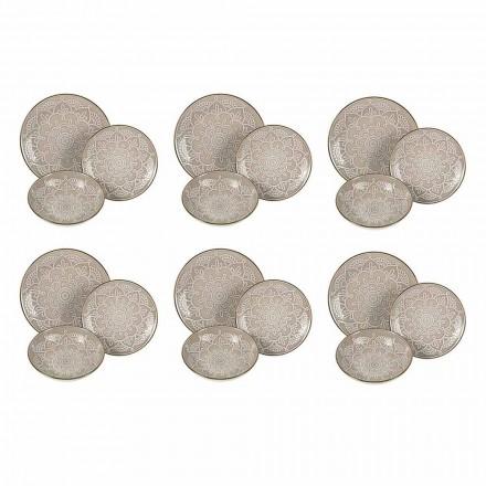 Service de vaisselle en dur gris dolomite, bleu clair ou bleu 18 pièces - Arabe