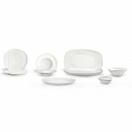 Service de vaisselle en porcelaine blanche 23 pièces design moderne et élégant - Nalah