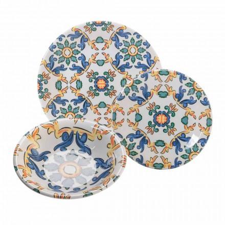 Ensemble de vaisselle moderne en céramique colorée, 18 pièces complètes - Abatellis