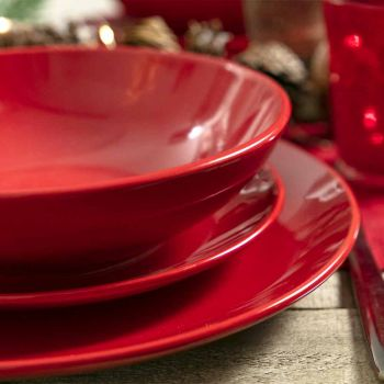 Assiettes de Noël rouges en grès 18 pièces Tradition et élégance - Rossano