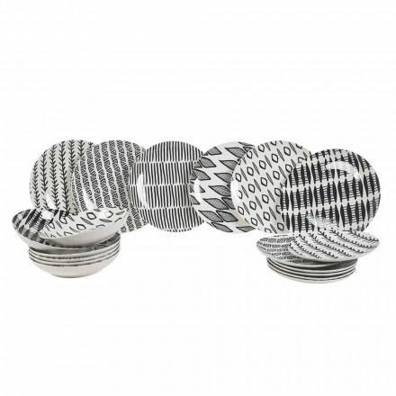 Service De Vaisselle En Porcelaine Noire Et Blanche Design Élégant 18 Pièces - Tanzanie