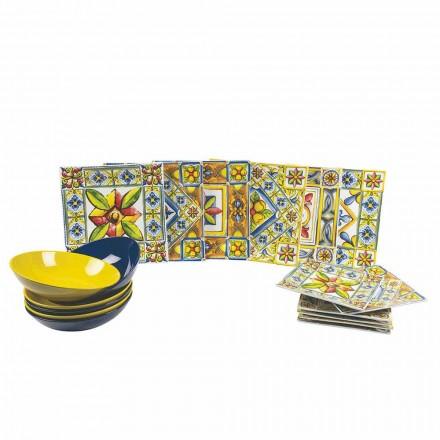 Assiettes Carrées Colorées Modernes en Porcelaine 18 Pièces - Eté