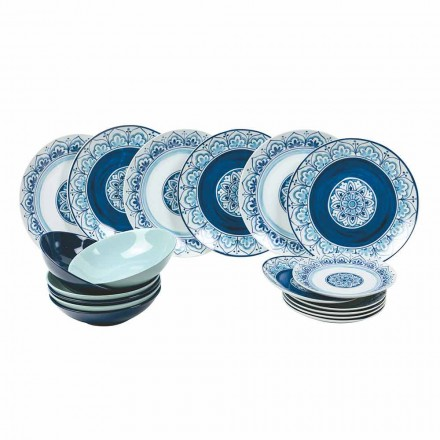 Service De Table Moderne En Porcelaine Et Assiettes En Pierre Complet 18 Pièces - Ravello