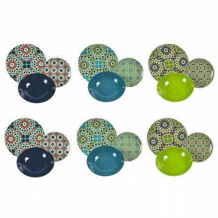 Service de Table Plats Porcelaine et Grès Coloré Moderne 18 Pièces - Greniers