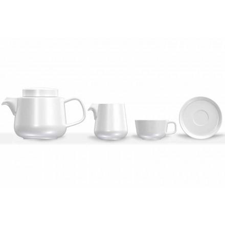 Service de tasse et soucoupe en porcelaine, théière en porcelaine et pot à lait 14 pièces - Arctique
