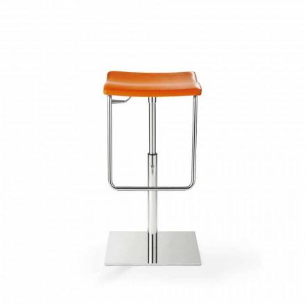Tabouret en bois avec base carrée en acier chromé et rembourrage - Armstrong