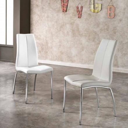 Set de 4 chaises de design Alba, en éco cuir et métal chromé