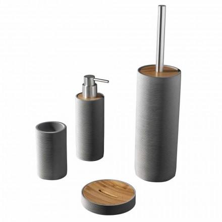 Ensemble d'accessoires de salle de bain de comptoir en blanc ou gris - résine de renard