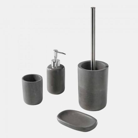 Ensemble d'accessoires de salle de bain sur pied en résine grise - Pailette