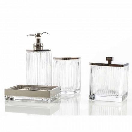 Ensemble d'accessoires de salle de bains moderne en métal et verre Priola