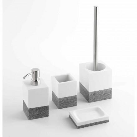 Ensemble d'accessoires de salle de bain design en résine blanche et grise - Saeda