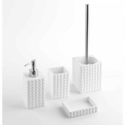Ensemble d'accessoires de salle de bain modernes en résine blanche ou sable - Perles