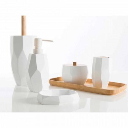 Ensemble d'accessoires de salle de bain design en bois et résine Rivalba