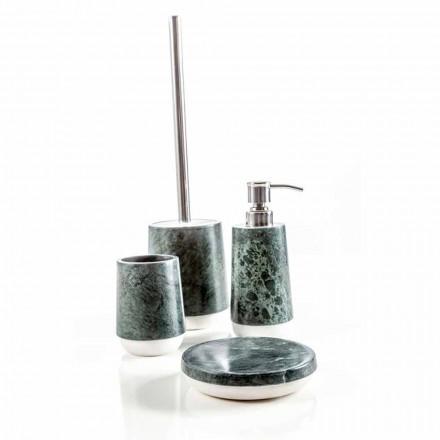 Accessoires de salle de bains modernes en marbre vert chiné Bombei
