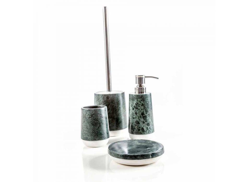 Accessoires de salle de bain modernes en marbre Bombei vert chiné