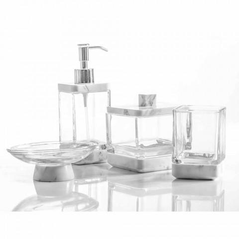 Accessoires de salle de bain modernes en marbre Calacatta et verre Carona