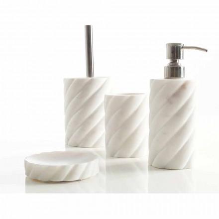Accessoires de salle de bain design en marbre Calacatta Monza