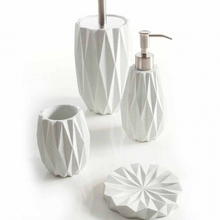 Ensemble d'accessoires de salle de bains moderne en résine blanche Levice