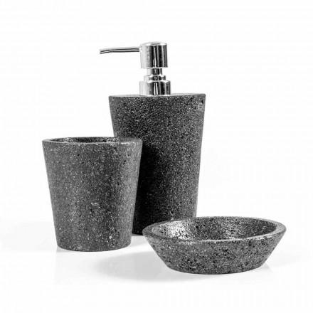 Accessoires de salle de bain modernes en pierre de lave Montiano