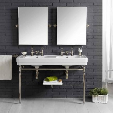 Set salle de bain avec console double en céramique blanche Linear