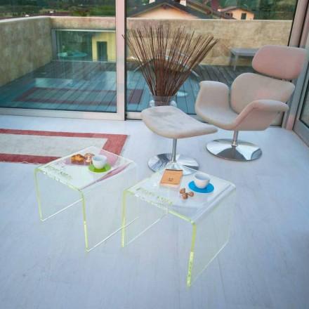 Ensemble de 2 tables de chevet au design moderne en méthacrylate fabriqué en Italie - Leielui