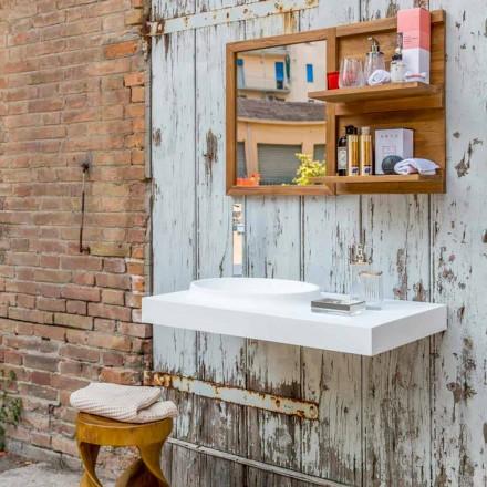 Mobilier de salle de bains moderne suspendu dans une surface solide à Brusson