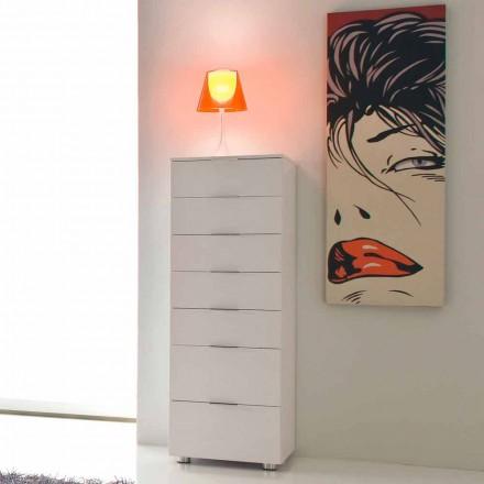 Chiffonnier 7 tiroirs de design moderne Roberto, blanc poli
