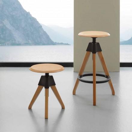 Tabouret à vis Sit de design, en bois et polypropylène