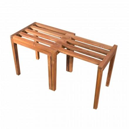 Tabouret bas extensible en bois de teck finition naturelle - Pomino