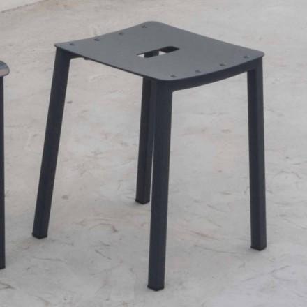Tabouret bas empilable d'extérieur moderne en aluminium fabriqué en Italie - Dobla