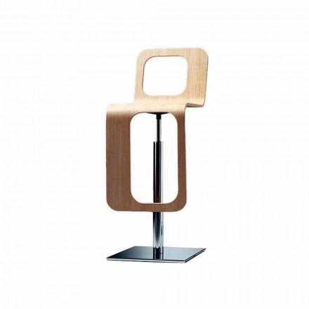 Tabouret de cuisine design moderne en bois de chêne et métal - Signorotto