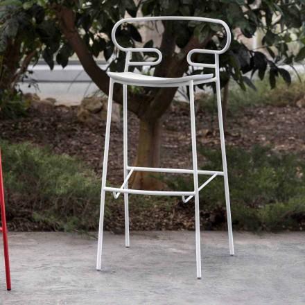 Tabouret d'extérieur en métal peint et polyuréthane fabriqué en Italie - Trosa