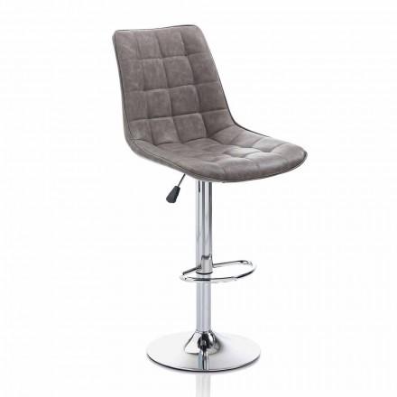 Tabouret design avec assise en similicuir et structure chromée, 2 pièces - Chiotta