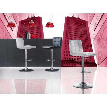 Tabouret Design Moderne Relevable, Assise en Ecocuir – Delfina