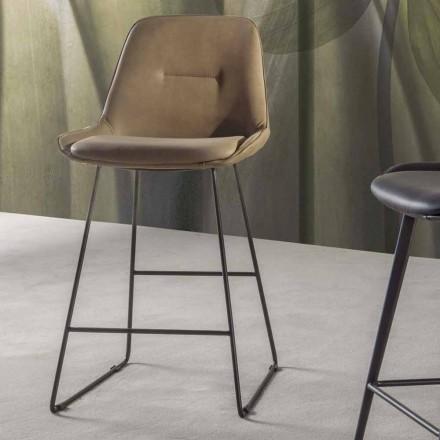 Tabouret Design Moderne en Simili Cuir, Base à Traîneau – Ines