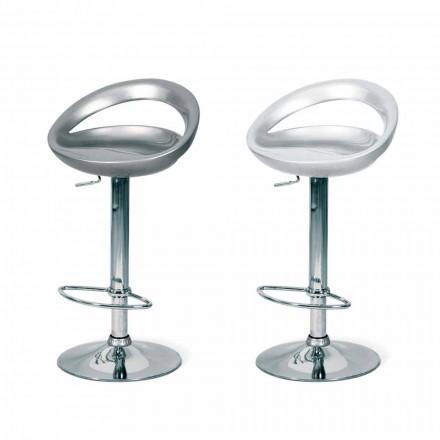 Tabouret de design Pollina, avec assise en ABS et structure chromée