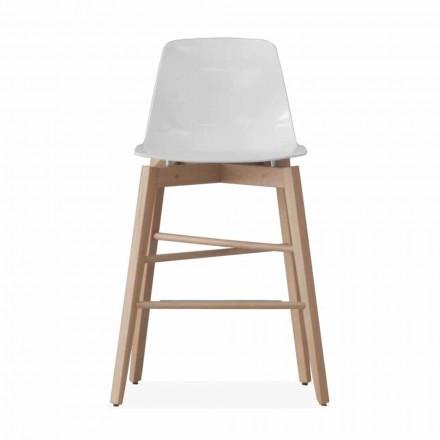 Tabouret en bois de chêne et assise laquée blanche de design moderne - Langoustine