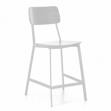 Tabouret moderne en métal avec assise et dossier en bois, 2 pièces - Habibi