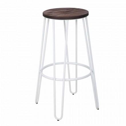 Tabouret de style industriel de design moderne en bois et fer, 2 pièces - Belia