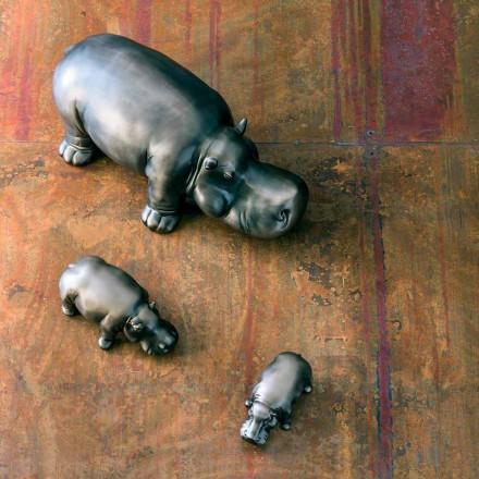Ornements en céramique en forme d'hippopotame, fabriqués en Italie - Savage