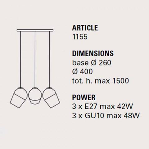 Suspension avec trois aimants en métal - lampes Toscot