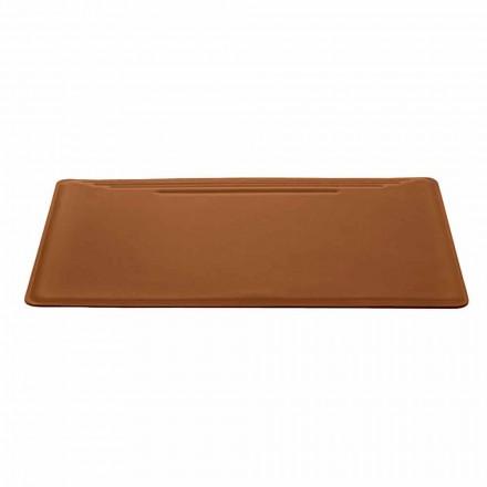 Tapis de bureau Made in Italy en cuir régénéré avec arrêt de stylo - surpiqûres Ebe