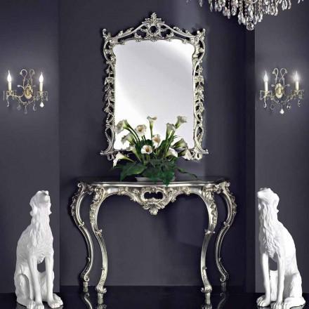 Miroir mural, console et plateau en bois, fait main en Italie, Giacomo