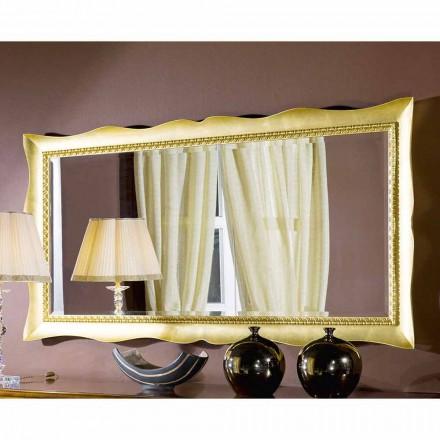 Miroir mural fait main en bois doré / argenté, fabriqué en Italie, Luigi