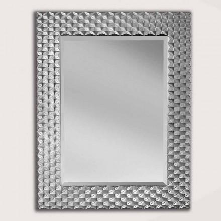 Miroir mural argent / or en bois, produit en Italie, Giuseppe