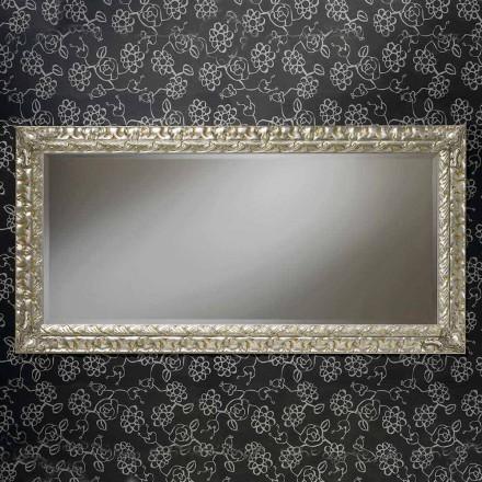 Miroir mural rectangulaire en bois fait main, fabriqué en Italie, Nicolò