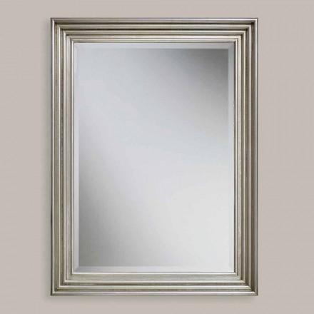 Miroir mural fait main en bois doré / argenté, fabriqué en Italie, Stefania