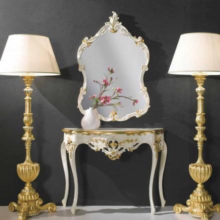 Miroir mural en bois, console, plateau en mdf fabriqué en Italie Gianluca