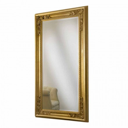 Miroir mural en bois doré / argenté, entièrement fabriqué à la main en Italie, Michele