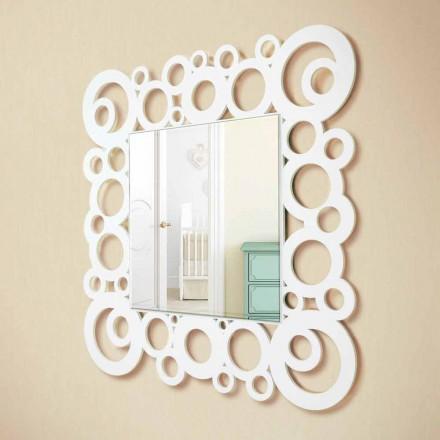 Miroir Mural Carré Blanc Design Moderne avec Décorations en Bois - Bulle
